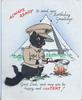 ALWAYS READY....uniformed black cat frying egg in front of tent, Tail applique