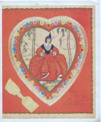 FOR MY V ALENTINE on red background surrounding heart shaped floral inset, pretty woman in old style dress