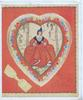 FOR MY VALENTINE on red background surrounding heart shaped floral inset, pretty woman in old style dress