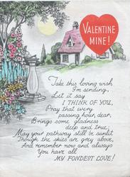 VALENTINE MINE! in white on red heart seen through perforation above verse,, sundial & flowers left, cottage back