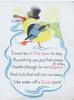 I MUST BE IN THE SWIM ... dressed duckling paddles left, verse within blue design