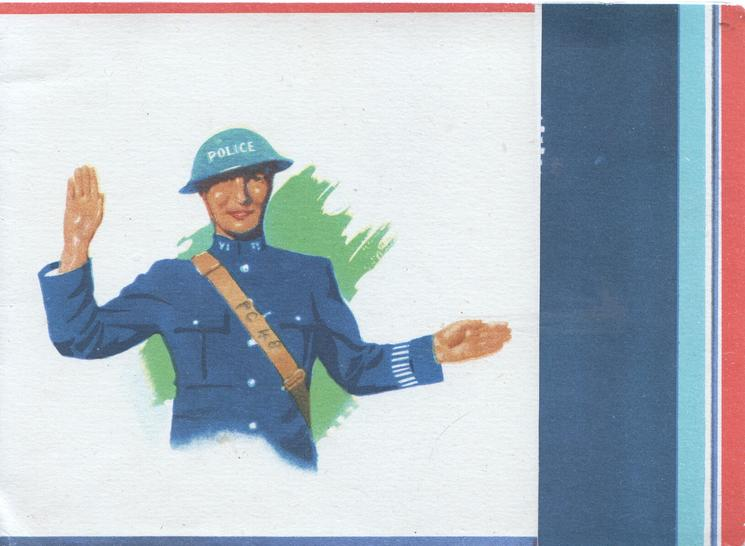 no front title policeman standing directing traffic, cream background, red, white & blue stripes right
