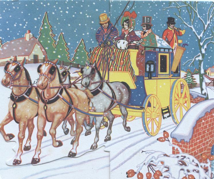 no front title,  4 horse team & carriage moving left, people in old style dress, evening snow scene