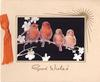 GOOD WISHES in gilt below 4 orange birds on branch, inset on black, gilt sun upper right