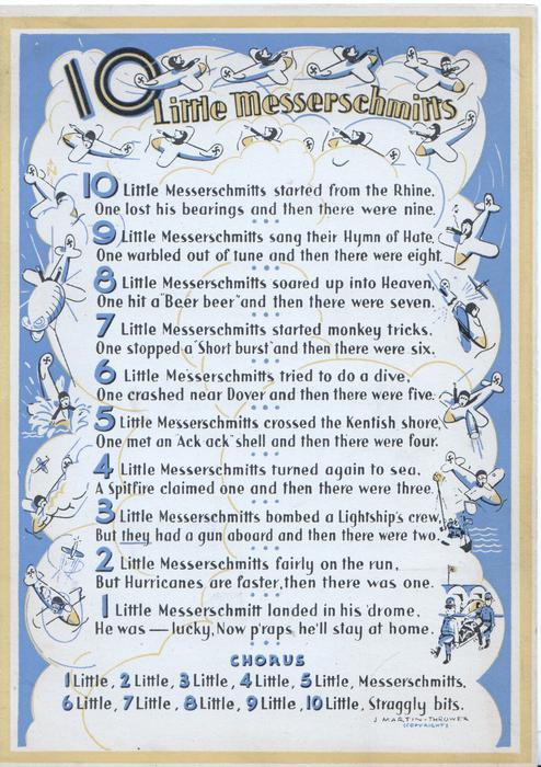 10 LITTLE MESSERSCHMITTS ten short verses-see scan, CHORUS at base, blue background