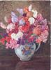 no front title china bowl of multicoloured sweet peas on table, brown background