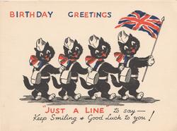 BIRTHDAY GREETINGS 4 dressed black cats walk right, flag carried, quote below