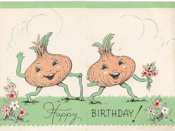 HAPPY BIRTHDAY! across 2 flaps, personised onions walk right on grass with flowers