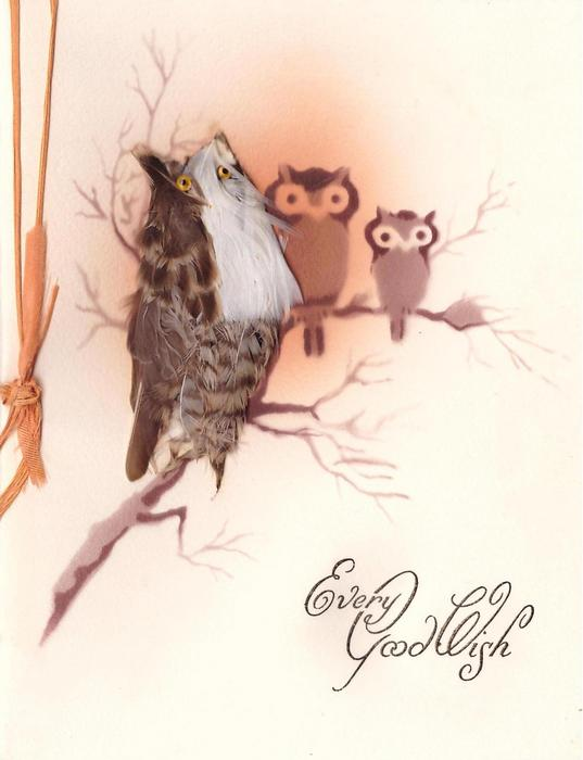 EVERY GOOD WISH in gilt, 2 small stenciled owls & 1 larger owl with feather applique & beaded eyes