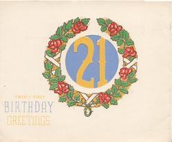 BIRTHDAY GREETINGS below 21 cut out in wreath of roses & rose leaves