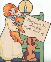 HAPPINESS BE WITH YOU NIGHT AND DAY on white plaque, girl carries kitten & candle, puppy begs