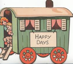 HAPPY DAYS on white plaque on side of caravan, boy girl & puppy look out of door
