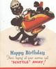 HAPPY BIRTHDAY........humanised cat carries coal scuttle with kitten on top