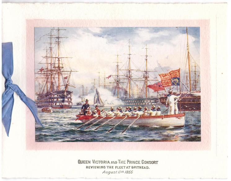 QUEEN VICTORIA AND THE PRINCE CONSORT -- REVIEWING THE FLEET AT SPITHEAD AUGUST 11TH 1855