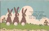 THREE LITTLE BUNNIES SENDING TO YOU FOND EASTER GREETINGS AND LOTS OF WISHES TOO! three bunnies sitting on grass
