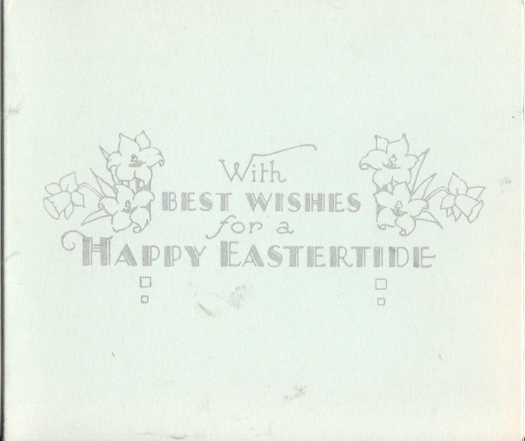 WITH BEST WISHES FOR A HAPPY EASTERTIDE decorative flowers on either side