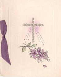 EASTER on cross, purple lilac below, purple ribbon left