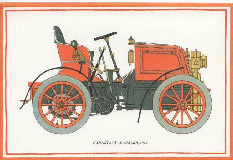 CANNSTATT - DAIMLER, 1899 antique car facing right