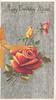 HAPPY BIRTHDAY MUM in gilt, red/orange rose & 2 buds, grey matte background
