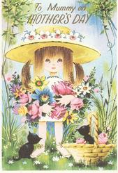 TO MUMMY ON MOTHERS DAY in gilt, stick girl holds armsful of many coloured flowers, 2 black kittens below