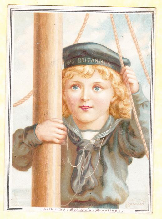 girl in sailor top and hat holds mast