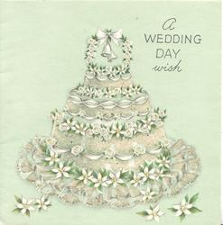 A WEDDING DAY WISH glittered bell shape decorated with white flowers