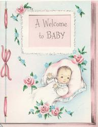 A WELCOME TO BABY seen through perforation above baby, pink roses around