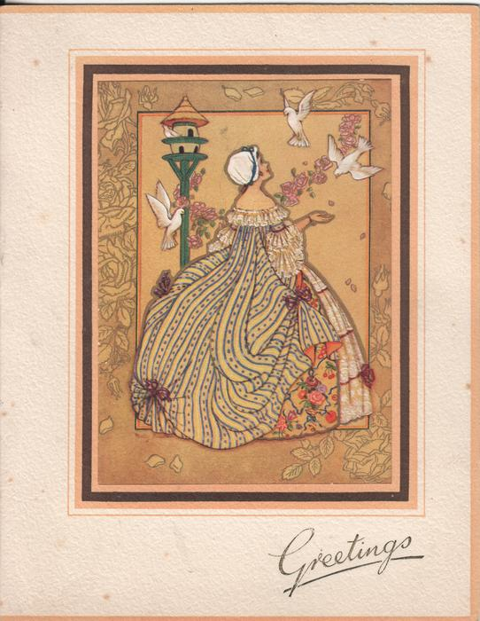 GREETINGS woman in large dress looks at 3 doves