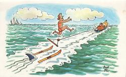 no front title, water-skier has lost his ski's