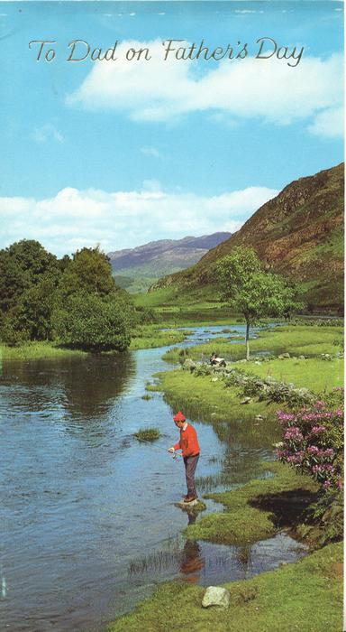 TO DAD ON FATHER'S DAY in silver,  man fishing in Lake District