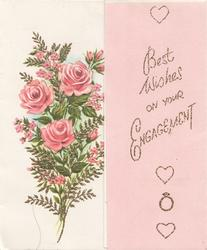 BEST WISHES ON YOUR ENGAGEMENT in glittered gilt on pink right flap