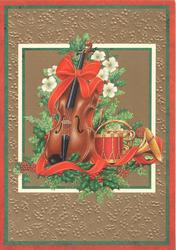 no front title, inset of violin, drum, trumpet,evergreen & Christmas roses, set in many coloured marginal design
