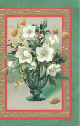 no front title, inset of glass vase,Christmas roses, flowers & holly set in many coloured marginal design