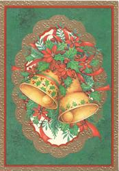 no front title, inset of 2 orange bells, poinsettIa & holly, set in many coloured marginal design