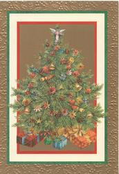 no front title, inset presents below decorated Christmas tree with angel at top, set in many coloured marginal design