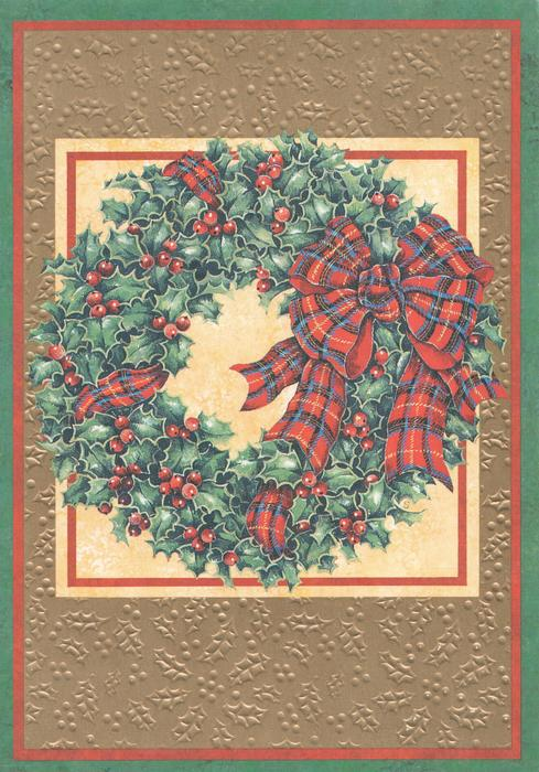 no front title, inset of holly wreath tied with tartan ribbon, set in many coloured marginal design