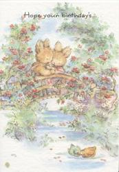 HOPE YOUR BIRTHDAYS....above 2 personified bunnies cuddling on rural bridge, red roses around