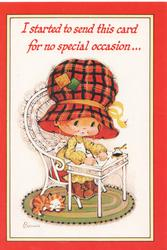 I STARTED TO SEND THIS CARD FOR NO SPECIAL OCCASION..Bonnie sits writing, cat sleeps
