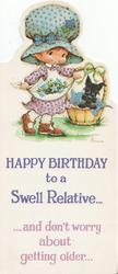 HAPPY BIRTHDAY TO A SWELL RELATIVE...AND DON'T WORRY ABOUT GETTING OLDER...Bonnie picks flowers, dog in basket