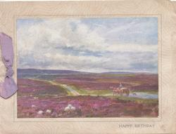 HAPPY BIRTHDAY below inset, sheep in purple heather, horse & cart move away