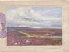 HAPPY BIRTHDAY below inset, sheep in purple heather, horse & cart move away