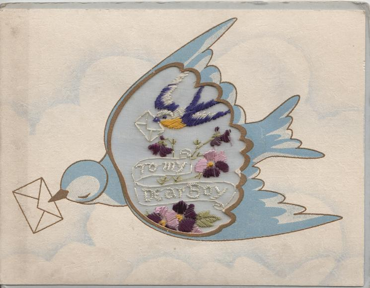 TO MY DEAR BOY on thin mesh in gilt & silver across back of blue-bird-of-happiness flying left with greeting in bill
