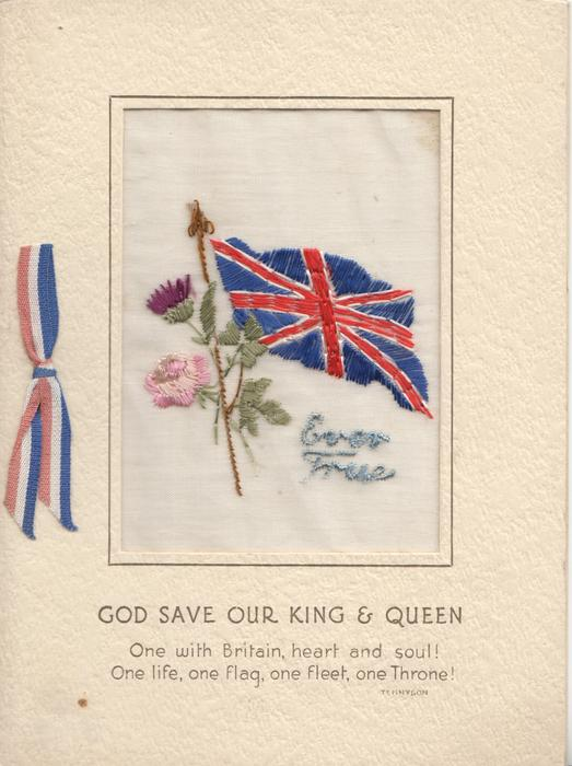 EVER TRUE on thin mesh inset in blue with flag, rose & thistle GOD SAVE OR KING & QUEEN verse
