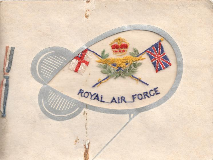 ROYAL AIR FORCE on thin mesh in blue, crown & flags,set in grey barrage balloon