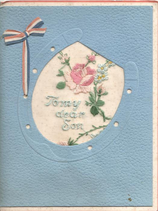 TO MY DEAR SON on thin mesh in blue below pink rose & buds