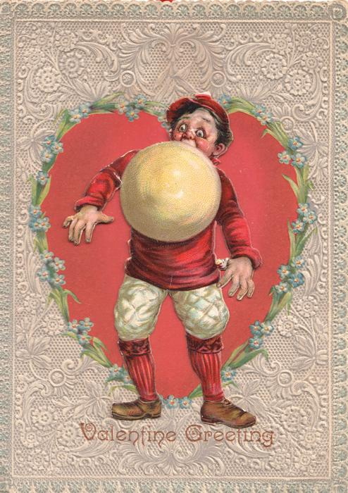 VALENTINE GREETING, BASEBALL, player stands dressed in red & white with baseball in mouth