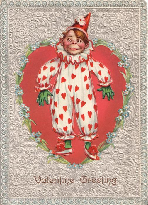 VALENTINE GREETING, THE CLOWN  boy stands welcoming in clown outfit, red hearts on white, gloves & hat