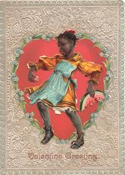 VALENTINE GREETING, TOPSY black girl stands leaning back, facing half left eating water melon