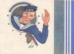no front title, sailor with H.M.S.on cap waving from porthole, blue colours right