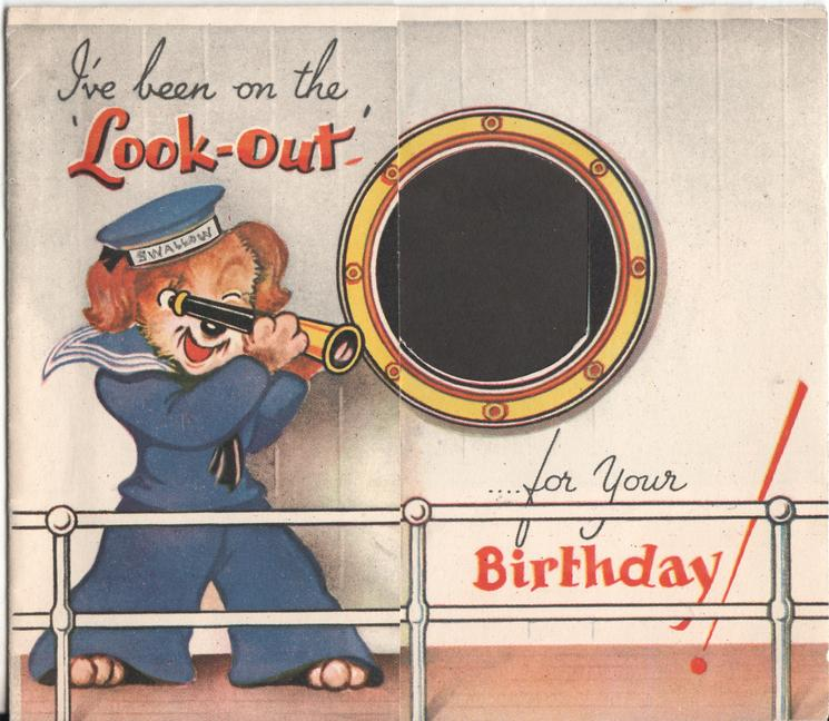 I'VE BEEN ON THE 'LOOK - OUT'  ... FOR YOUR BIRTHDAY! sailor dog looks through periscope